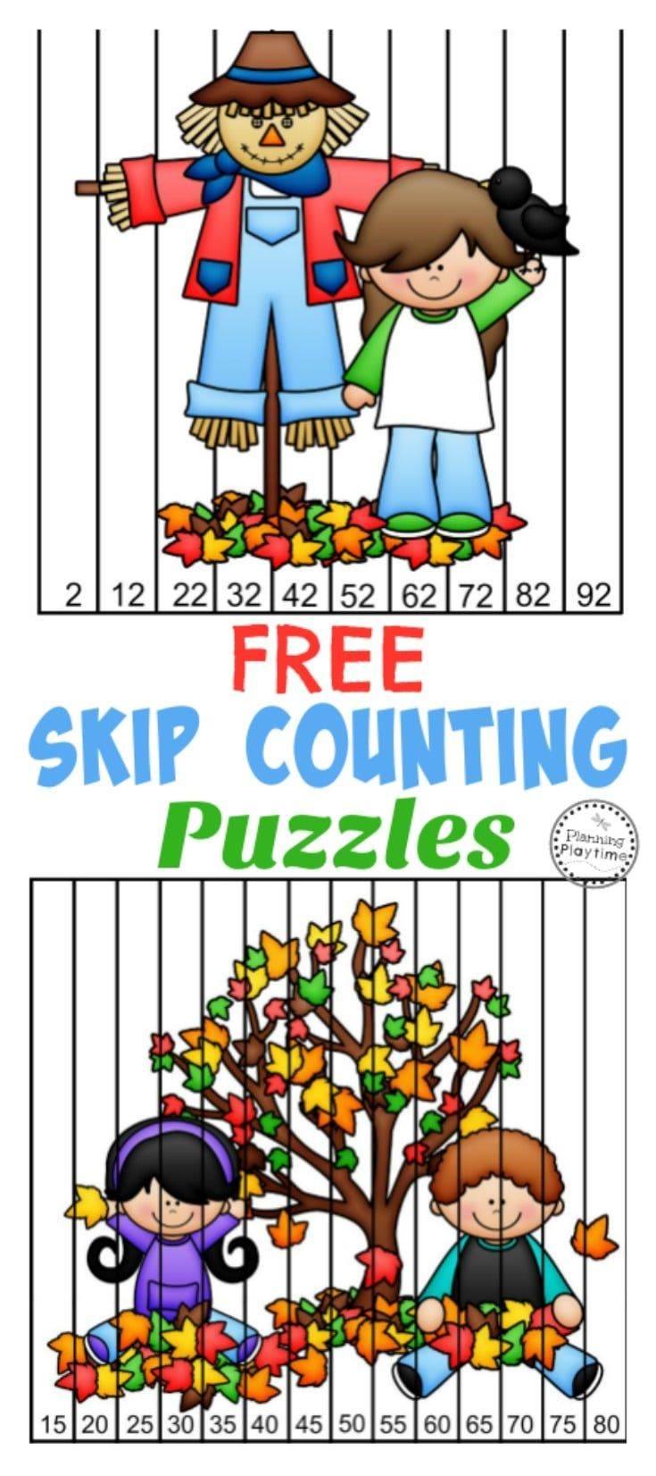 FREE Fall Skip Counting Puzzles Counting puzzles