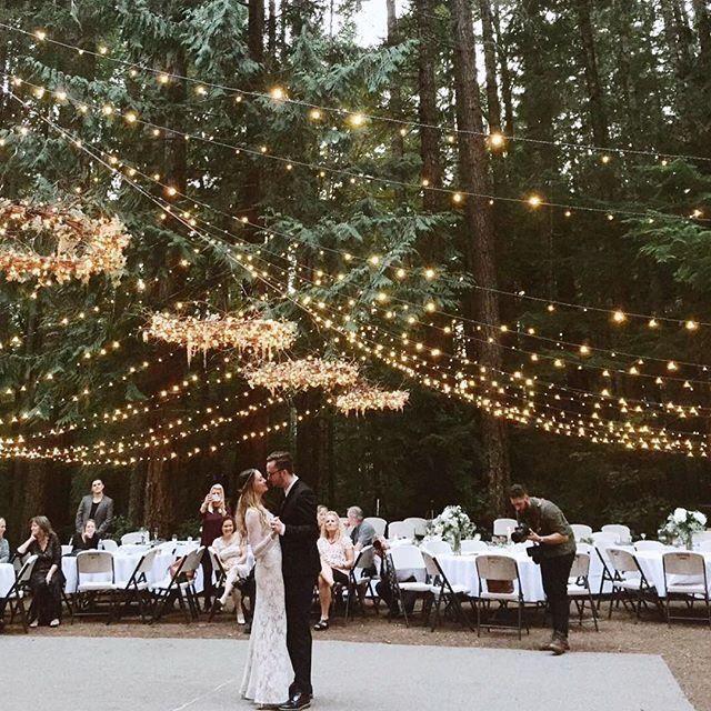 Forest Wedding Under A Fairy Light Canopy.