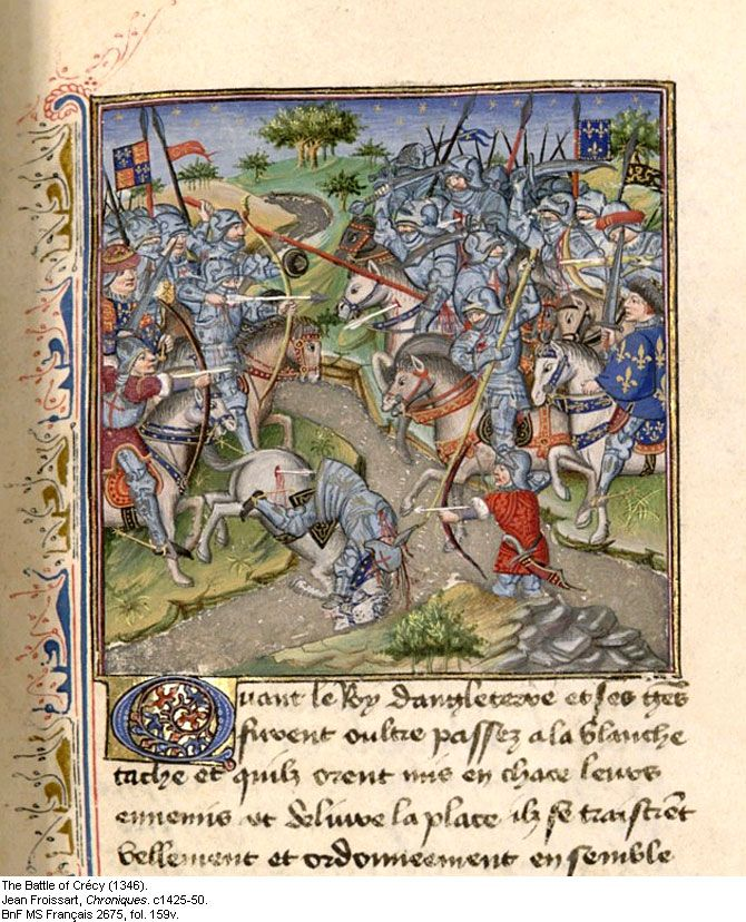 The Battle of Crecy August 26, 1346  fought between Edward III and King Philip VI of France, was one of the most important battles in the Hundred Years' War.  Sources disagree over  the size of the armies, the English army cited as numbering 10-34,000 strong, the French army 35-120,000 strong. Due to their organization, their cannons, and their longbowmen, the English won the day.  The new weapons and tactics employed marked an end to the era of the feudal warfare of knights on horseback
