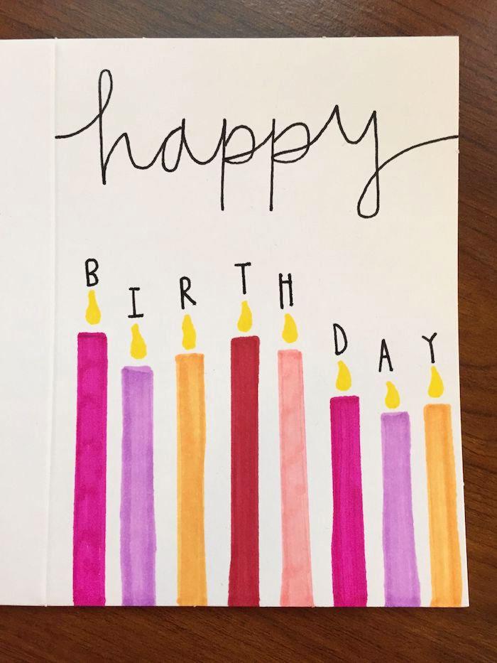 klappkarte basteln, bunte kerzen zeichnen, farbstift, ideen für selbstgemachte geburtstagskarten