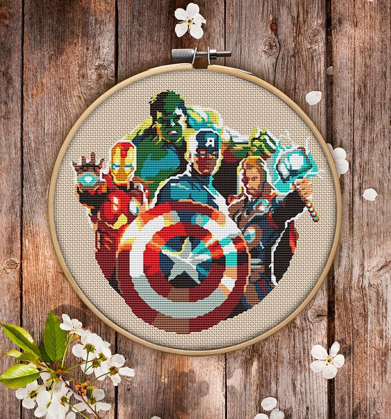 This is modern cross-stitch pattern of Avengers for instant download. For those, who like Marvel Comics! Nice picture to decorate your living space.  You will get 7-pages PDF file, which includes: - main picture for your reference; - colorful scheme for cross-stitch; - list of DMC thread colors (instruction and key section); - list of calculated thread length  The size of the picture is 6.93 X 7.50 (17.60 cm X 19.05 cm) - 120 X 120 stitches on Aida 14 count  It is a digital pattern and will…