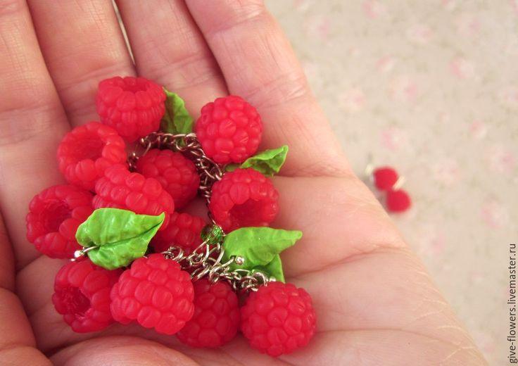 Купить Малина сладкая - комплект из полимерной глины - ярко-красный, красный, красно-зелёный, малина