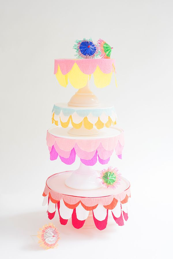Cakes get all the love. It's time to show some appreciation for the ones really doing all the work – the cake stands. No reason why they can't get dressed up for the party too! Cake stands with a flat