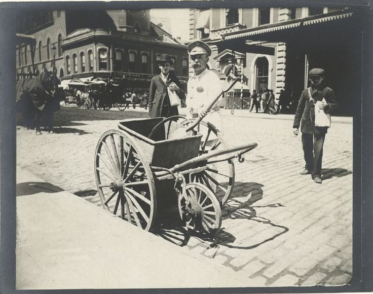 Street sweeper.  33 Everyday Street Scenes From Late 1800s New York City