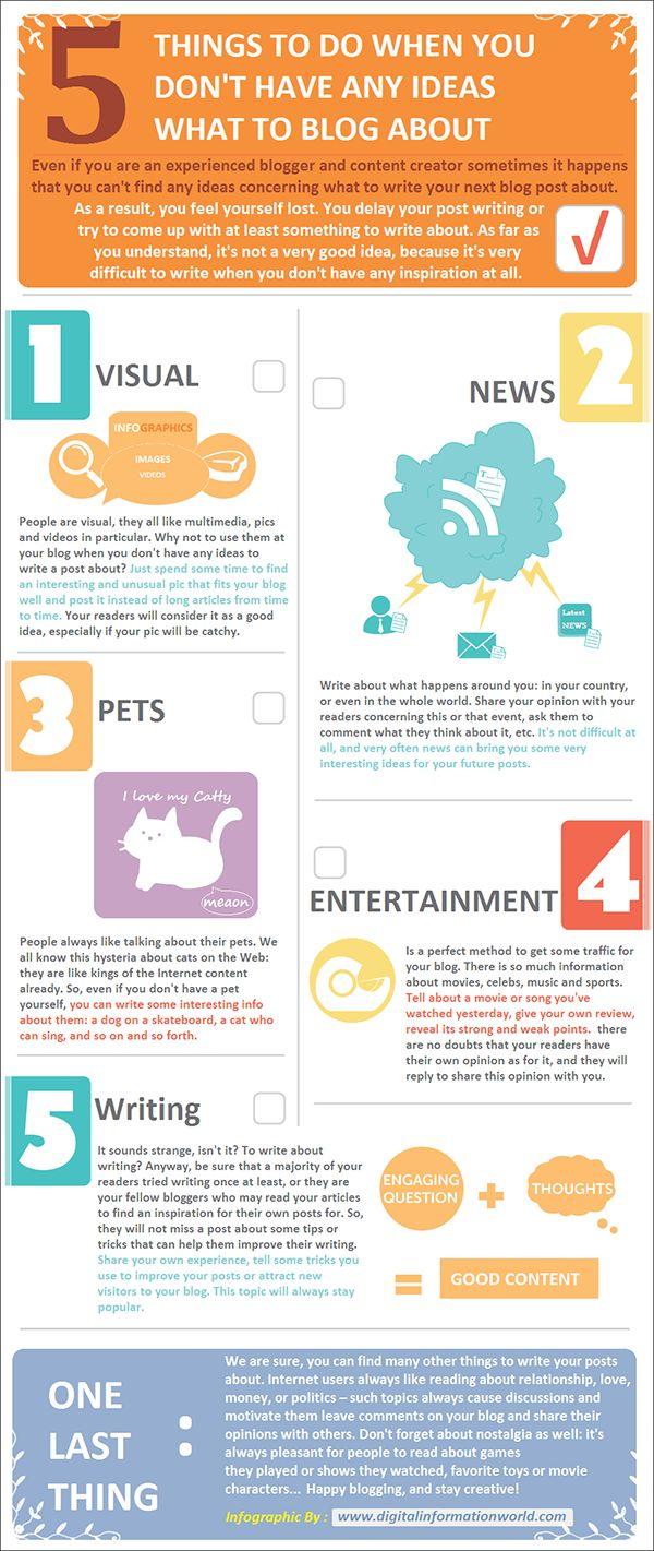 5 Ideas for Blogging - Social Media Marketing  Content Marketing www.socialmediabusinessacademy.com- #Infographic
