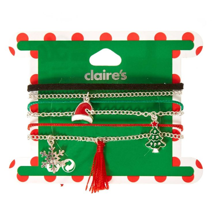 Mixed Christmas Charm Bracelets | Celebrate the most wonderful time of the year with some festive Mixed Xmas Charm Bracelets! This 6 pack includes black, red, and green thin fabric bracelets as well as 3 silver chain bracelets with charms including a santa hat, christmas tree, and a silver snowflake.