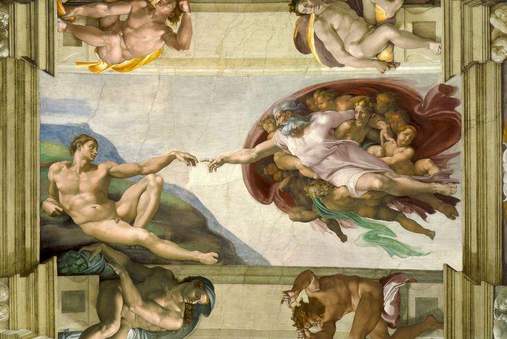 7.- La Creación de Adán La Creación de Adán es un fresco de Miguel Ángel en el techo de la Capilla Sixtina. Es una de las obras de arte más apreciadas y reconocidas del mundo y representa la escena del Génesis en el que Dios le da vida a Adán.