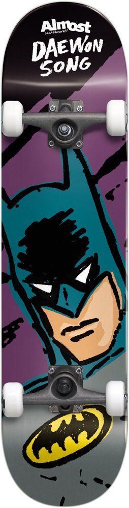 Almost 10523134 Sketchy Batman Daewon Song Complete Skateboard, 8.0FU, Multicolor. Slant trucks, yl92a bushings, colored trucks. Abec 5 chrome steel bearings. 52mm, 100a wheels.
