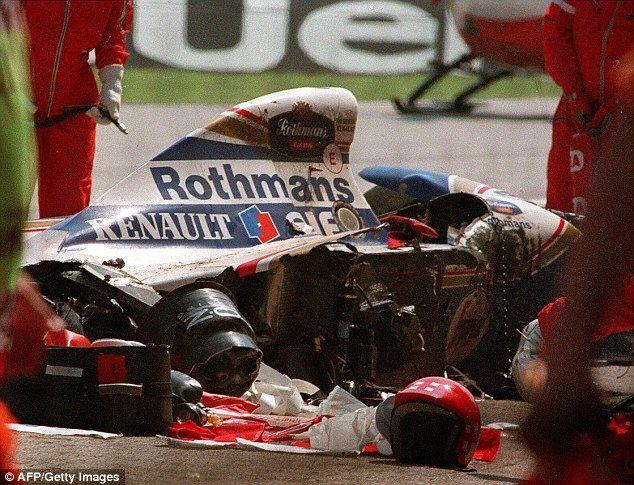 Sorry outcome: Senna crashed at the notorious Tamburello corner at a speed of over 130mph... http://dailym.ai/1mSqxdh#i-a80a0e5e