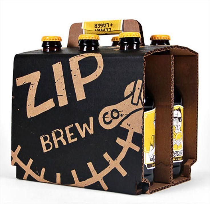 Дизайнер Matt Niehues создал оригинальное оформление дляупаковки пива совкусом лимона, производства Zip Brew Co. Дизайн упаковки включает всё: бутылки, этикетки, упаковку дляшести бутылок, пивные бокалы иподставки дляних. Дизайн довольно веселый, явно рассчитан нашумные компании, пикники. Для комплекта шести бутылок пива использована упаковка изгофрокартона, накоторой нанесена печать вдва цвета. Упаковка снабжена ручкой дляпереноски.  http://am.antech.ru/zxKp