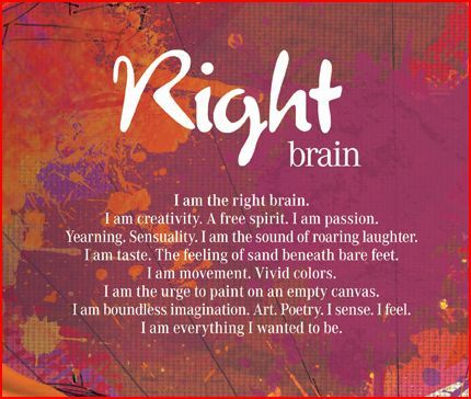 Right Brain: This is me, for the most part !! Don't really like the word, sensuality, ha, but the rest fits. So between Nate and myself, we equal a whole brain :)
