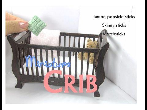 Baby Crib (Sleigh) Dollhouse Furniture Miniature Tutorial