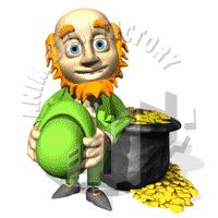 Leprechaun with Pot of Gold Animated Clipart
