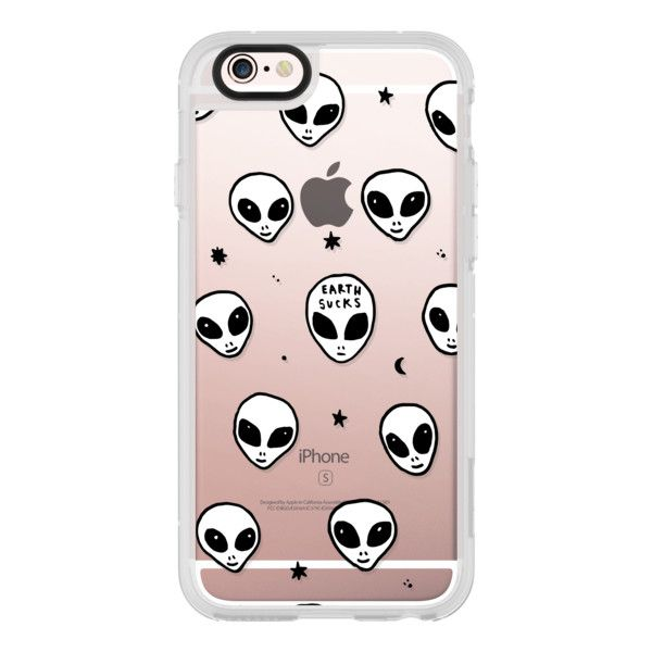 Cute White UFO Space Alien Drawing Pattern - iPhone 6s Case,iPhone 6... ($40) ❤ liked on Polyvore featuring accessories, tech accessories, iphone case, apple iphone cases, print iphone case, iphone cases, clear iphone cases and iphone hard case