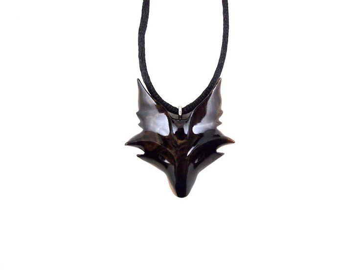 Fox Necklace, Fox Pendant, Celtic Fox Necklace, Fox Jewelry, Celtic Wooden Fox Pendant, Fox Totem Jewelry, Hand Carved Spirit Animal Pendant by GatewayAlpha on Etsy