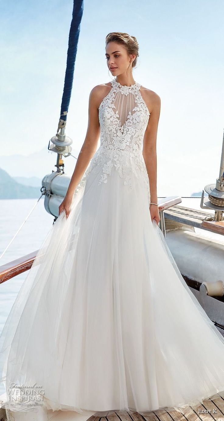 eddy k 2018 bridal sleeveless illusion halter jewel sweetheart neckline heavily …