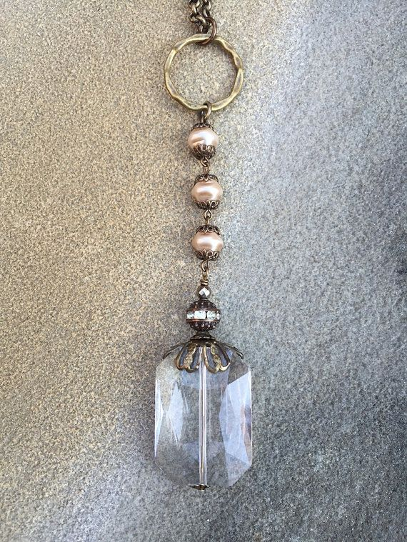 Rectangular Clear Crystal Necklace with Pearl by LisaJillJewelry