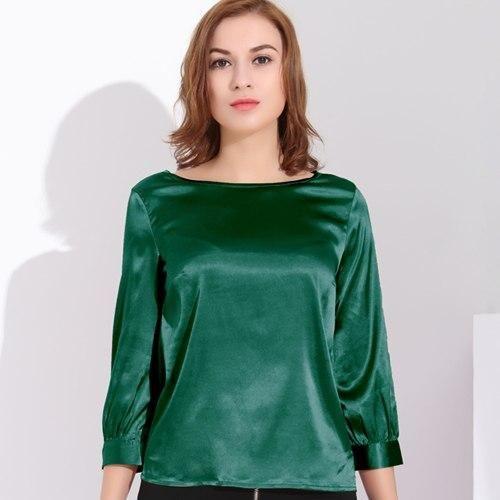Women Blouses Vintage Silk Plus Size Tops Femme Blouse White Office Shirt Formal Tops Blouses Summer Green XXL