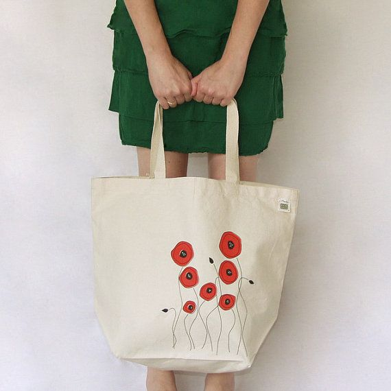 Poppies Post-Industrial Recycled Cotton Tote