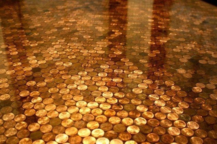 Copper coin floor- 10 Most Creative Floors Ever Built