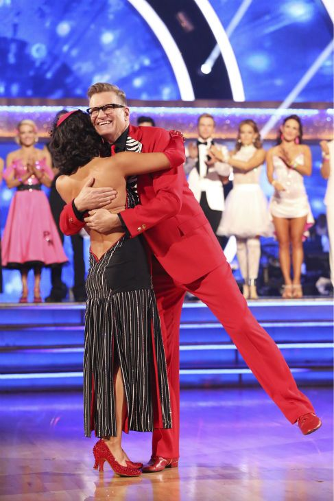 Drew Carey and Cheryl Burke react to being eliminated on week 6 of ABC's 'Dancing With The Stars' on April 21, 2014.
