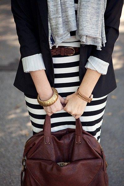 stripes + blazer + brown leather + gold accessories