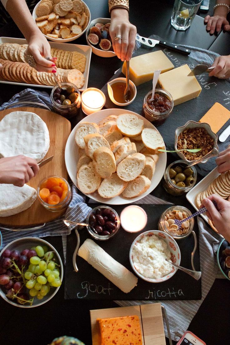 We had 8 girls, including myself, 7 wines, and 7 cheeses. I think you could get away with 4 or 5 of each, but we just couldn't help ourselves. I asked each guest to bring either a wine or a cheese based on a suggested pairings list,