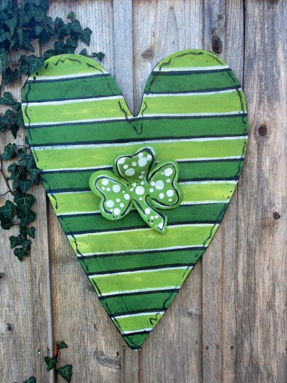 St Patrick's Day Green Striped Heart With Shamrick by doornament, $45.00