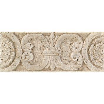 """Daltile Fashion Accents 8"""" x 3"""" Romanesque Decorative Listello in Medallion Travertine"""