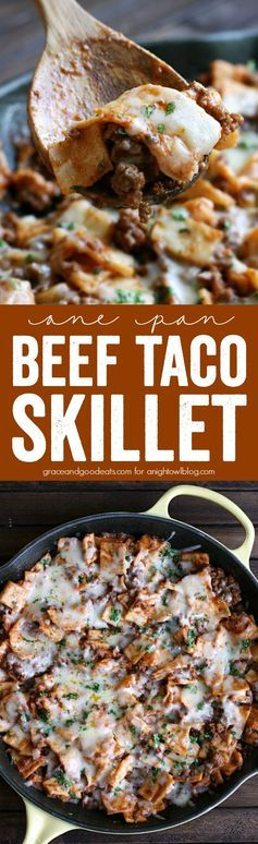 This One Pan Beef Taco Skillet is a super quick, delicious, one-pot ...