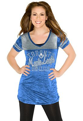 Toronto Maple Leafs Women's The Coop V-Neck T-Shirt 'Touch' by Alyssa Milano