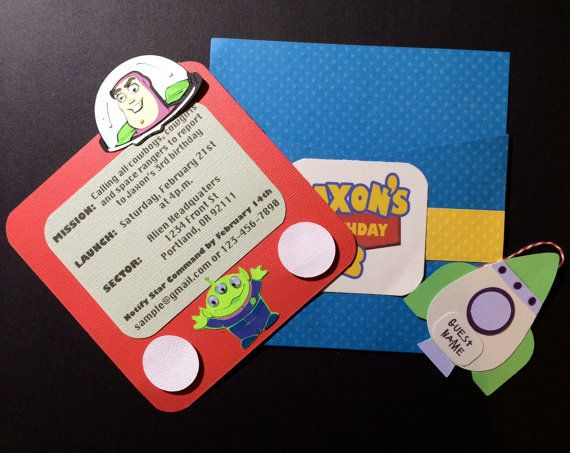 Handmade Toy Story Invitations by MaddyHandMade on Etsy