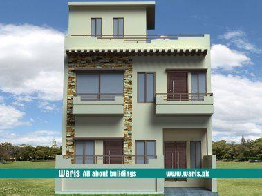 Waris House 4 Marla 3d View Elevation 25X40 In Islamabad, Pakistan