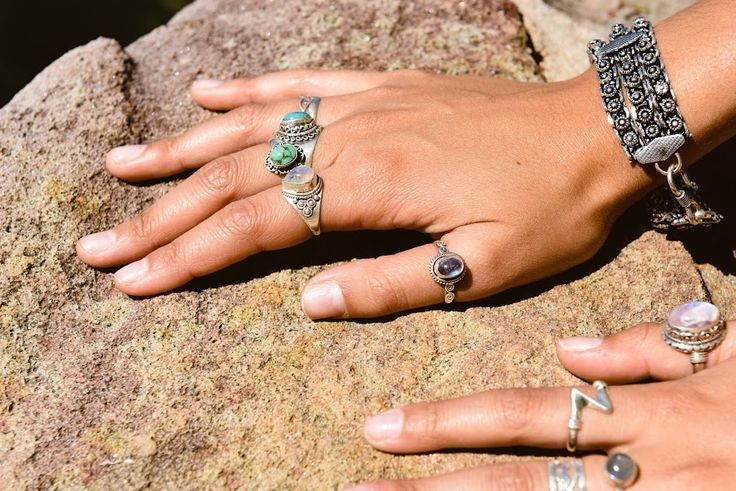 Turquoise & rainbow moonstone sterling silver ring combos. This combination is beautiful!!