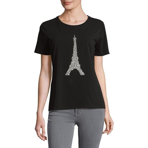 Karl Lagerfeld Paris Women S Beaded Eiffel Tower Graphic Tee 50 Liked On Polyvore Featuring Tops T Shirts Black Short Slee Women Karl Lagerfeld T Shirts For Women