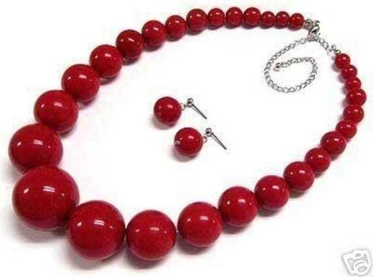 Красивая 6-14 мм мода красный искусственный коралловые круглые бусины башня цепи ожерелье серьги комплект ювелирных изделий бесплатная доставка 18 inch BV01