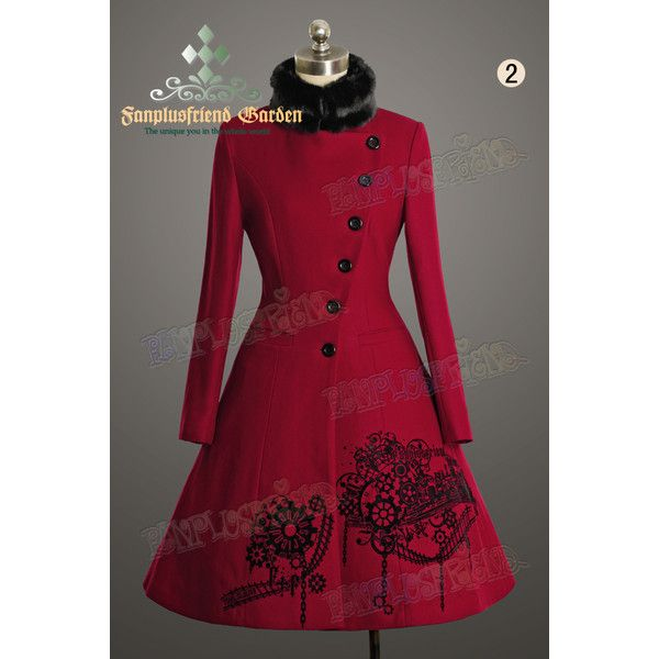 Next Station Steampunk Bias Front Mandarin Collar Warm Wool... ❤ liked on Polyvore featuring outerwear, coats, red wool coat, mandarin collar coat, red coats, steam punk coat and woolen coat