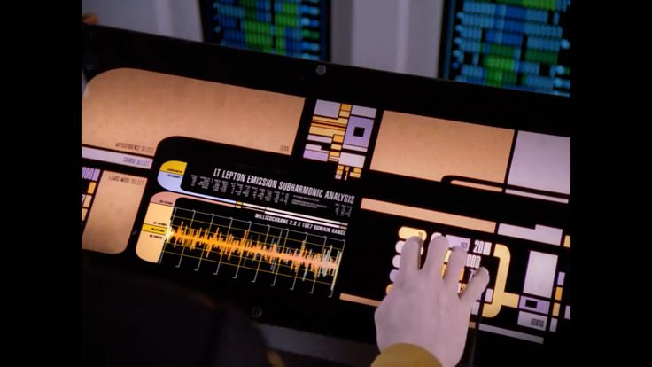 Data monitors the graviton pulse to counter the tetryon emissions in ST:TNG 3x04 'Relics'