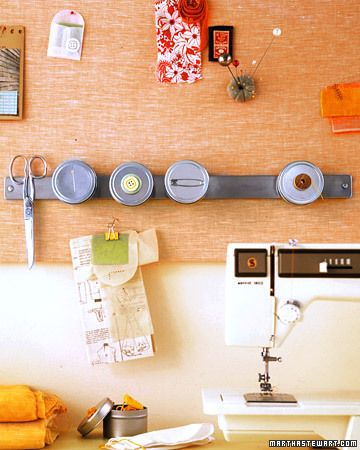 Mount a Magnetic Strip on the Wall  If you devote a corner of your room to mending and other tasks, suspend small containers filled with sewing supplies directly in front of you, rather than stacked on a desk, to maximize table space.