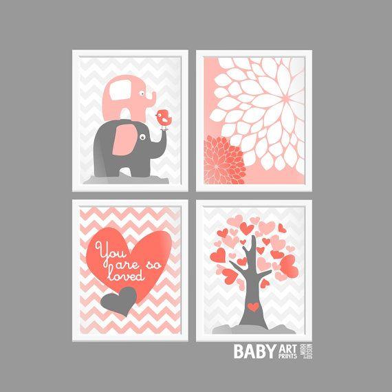 Corail gris bébé fille pépinière estampes arbre par babyartprints, $52.00