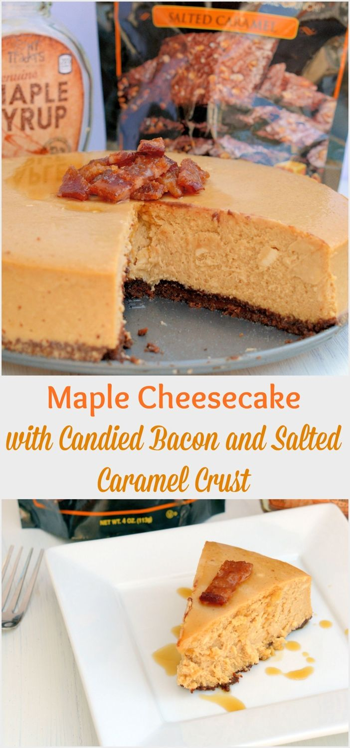 Maple Cheesecake with Candied Bacon and Salted Caramel Crust Recipe - this is one of the most decadent and delicious desserts you will ever make, the perfect combination of flavors.