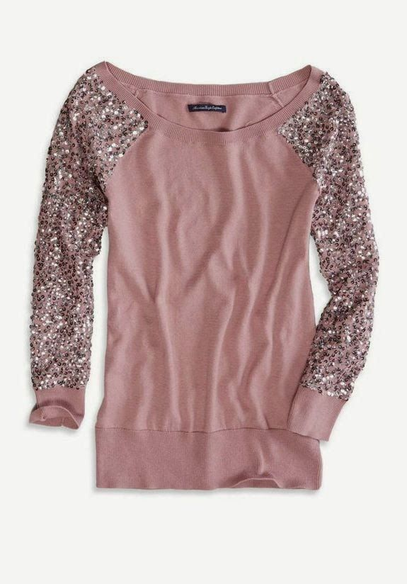 American Eagle Sequin Sleeve Sweater. Comfy cute