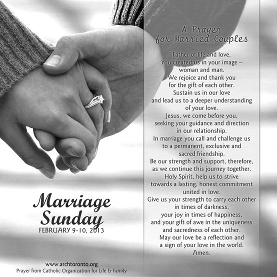 Prayer for Married Couples on Marriage Sunday (Archdiocese of Toronto)