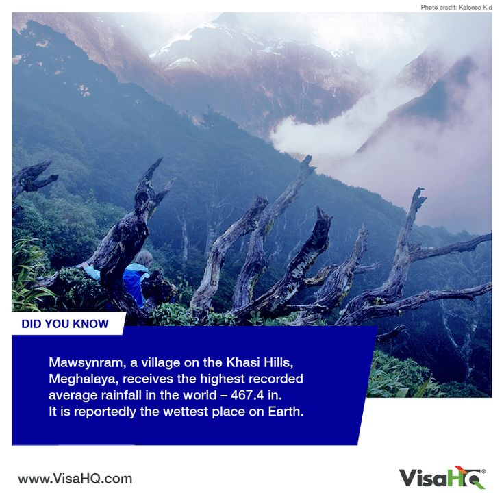 DID YOU KNOW: Mawsynram, a village on the Khasi Hills, Meghalaya, receives the highest recorded average rainfall in the world - 467.4 in. It is reportedly the wettest place on Earth. Do you want to travel there? Apply now: https://india.visahq.com/