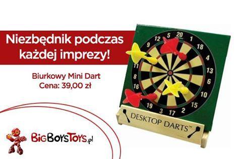 Zestaw zawiera miniaturową tablicę z drewnianą podstawką i kolorowymi strzałkami na magnesy- wszystko, czego potrzebujesz do gry w strzałki. Lekki i przenośny. http://www.bigboystoys.pl/item249__Biurkowy_Mini_Dart.html