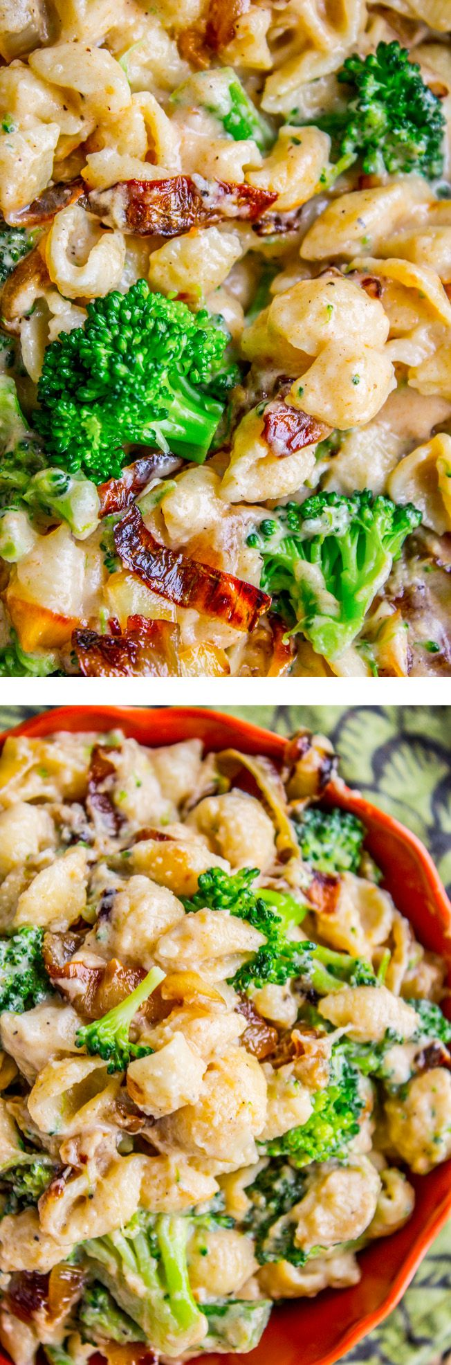 Caramelized onions add tons of flavor to this stove top mac and cheese! The sweet onions paired with the tender broccoli and sharp white cheddar is amazing! Recipe from The Food Charlatan.