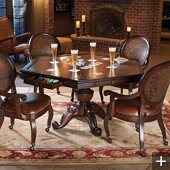 Game table and chairs  frontgate austin game room furniture