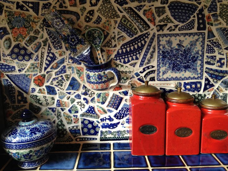 My mother took broken polish pottery and turned it into a mosaic on her kitchen walls. This is only a portion of the backdrop.
