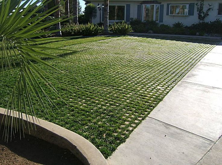 Drivable Grass systems are made of concrete squares with mesh backing that are strong enough to pave driveways with. Ground cover and grass can grow through gaps between the concrete blocks. Photo: Soil Retention