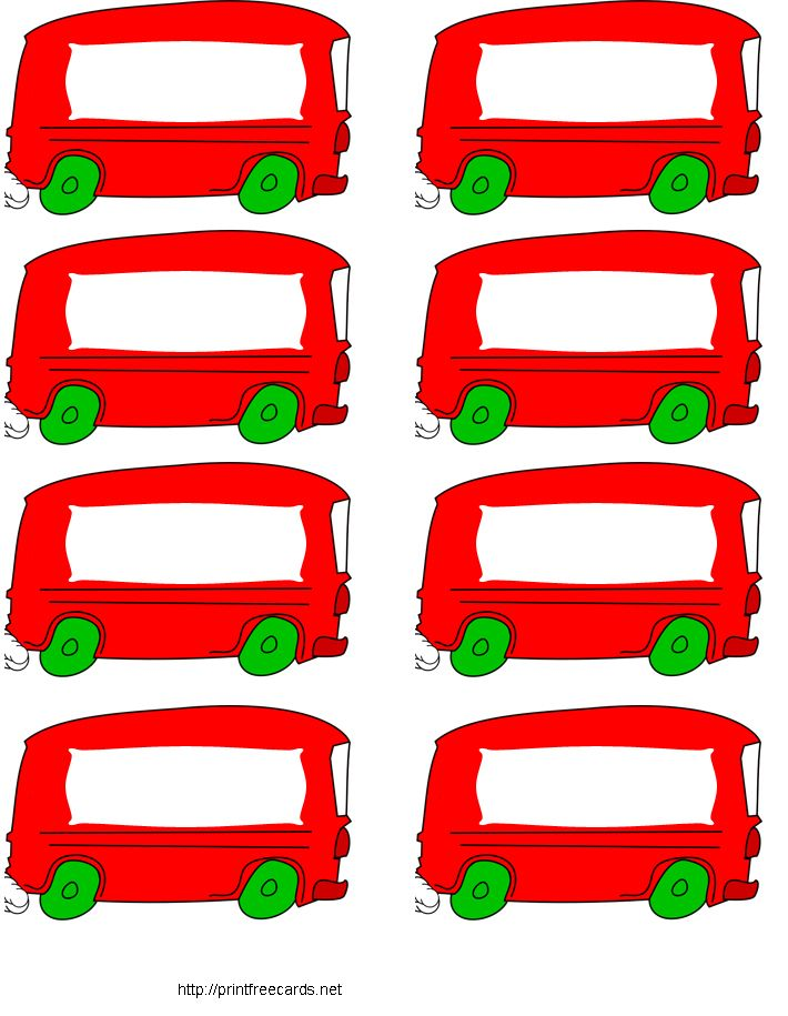 free printable name tags red bus - Printable Pictures For Kids